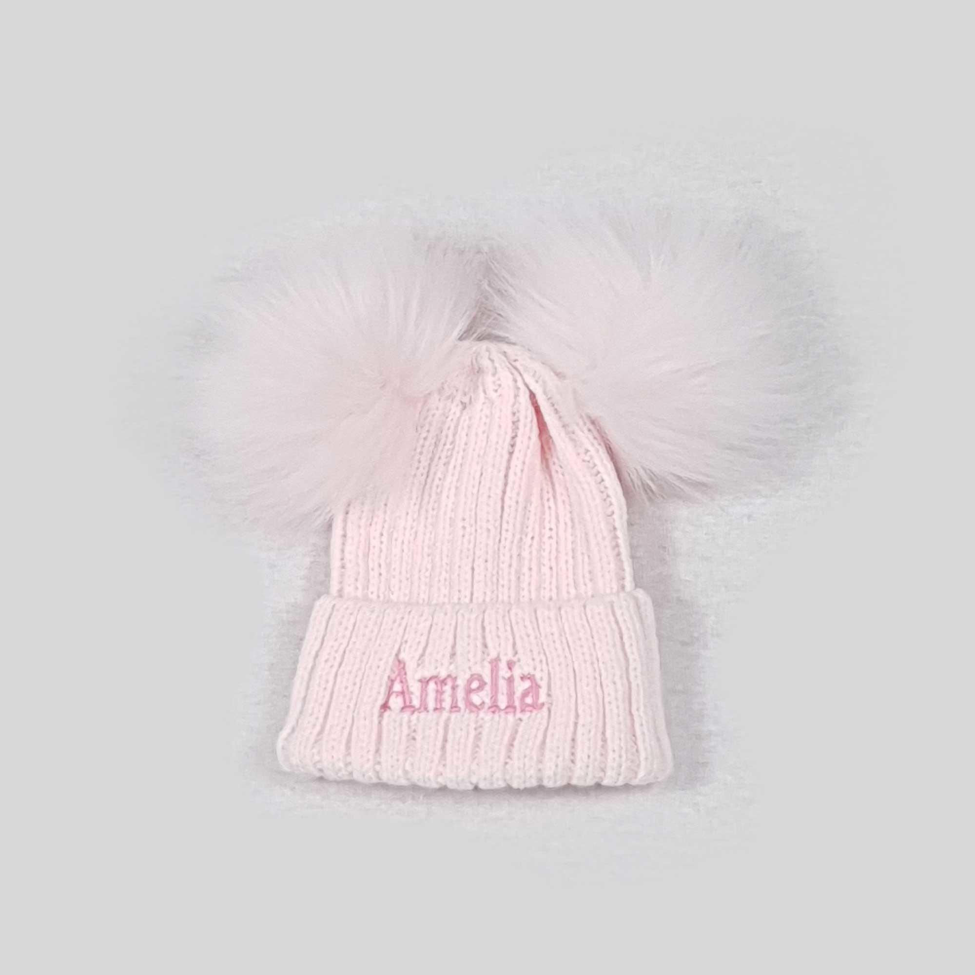 Pink Knit Baby Pom Pom Hats-1