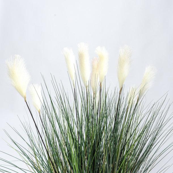 Kunst Rietgras witte pluimen (groen) 137 cm