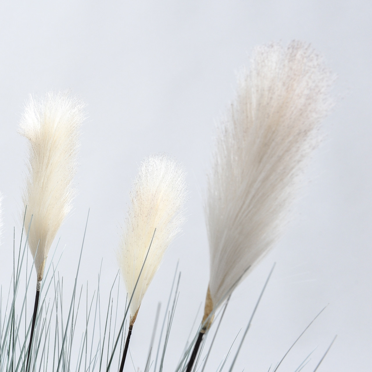 Kunst Rietgras witte pluimen (grijs) 137 cm