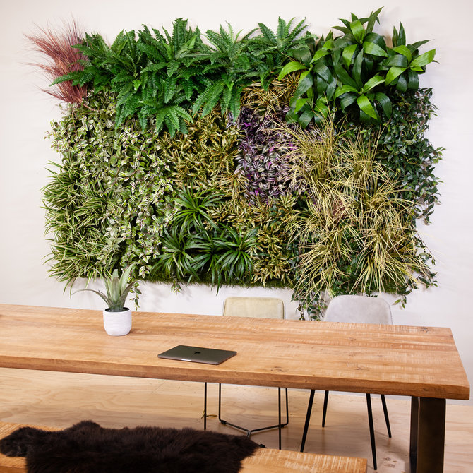Panel Kunst Groene Wand Panel - mooie kunstplanten in een paneel
