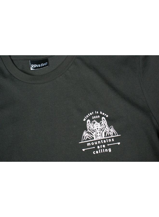 T-shirt winter is here zwart