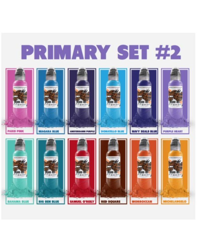 WORLD FAMOUS INK® World Famous Primary Color Ink Set #2 12 x 30ml