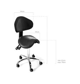 Wave Black Stool with Backrest