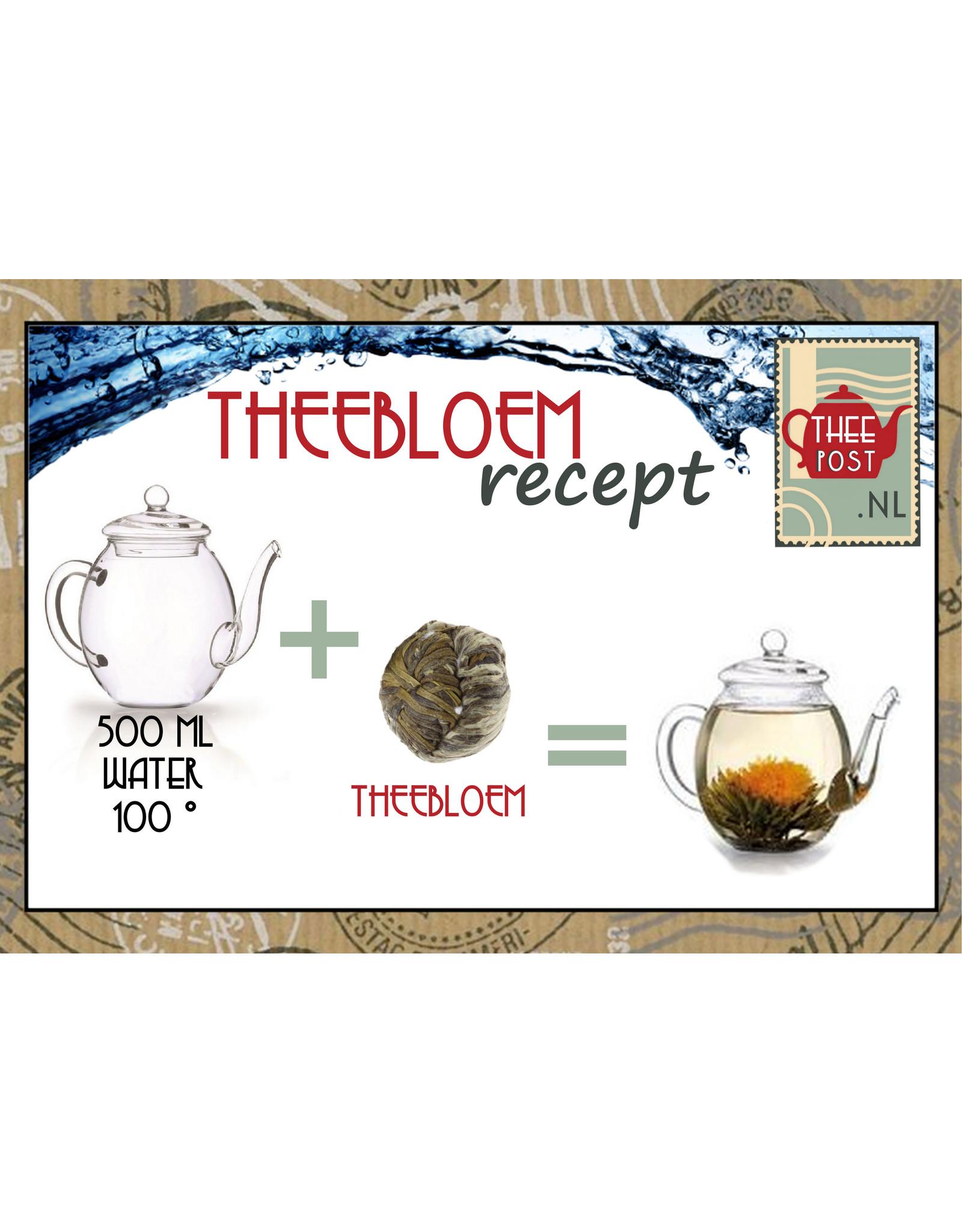 Theebloem van witte thee met twee goudsbloemen
