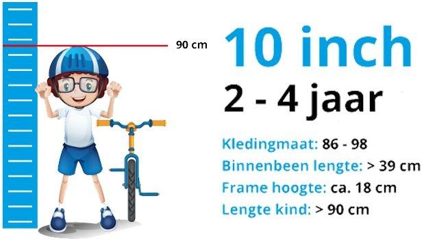 Maattabel Kinderfiets 10 Inch