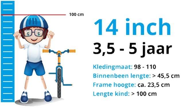 Maattabel Kinderfiets 14 Inch