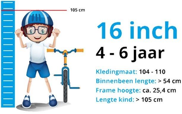 Maattabel Kinderfiets 16 Inch
