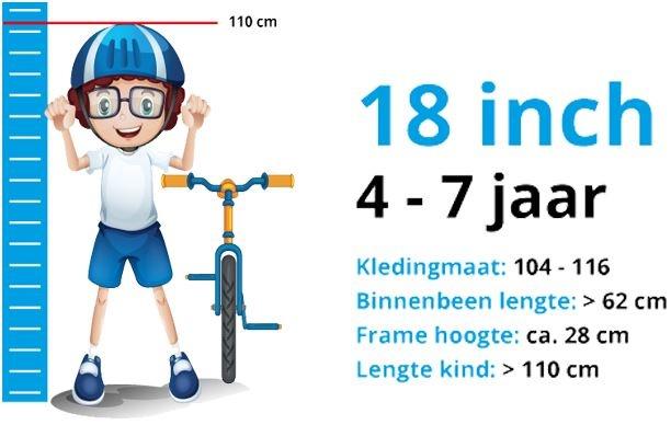 Maattabel Kinderfiets 18 Inch