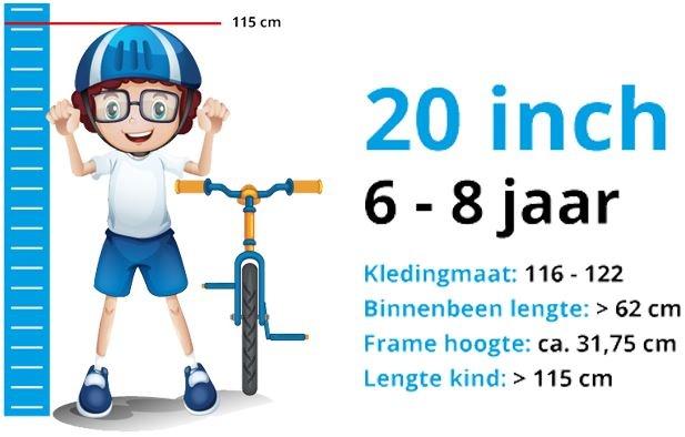 Maattabel Kinderfiets 20 Inch