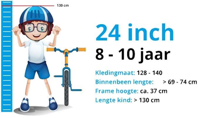 Maattabel Kinderfiets 24 Inch