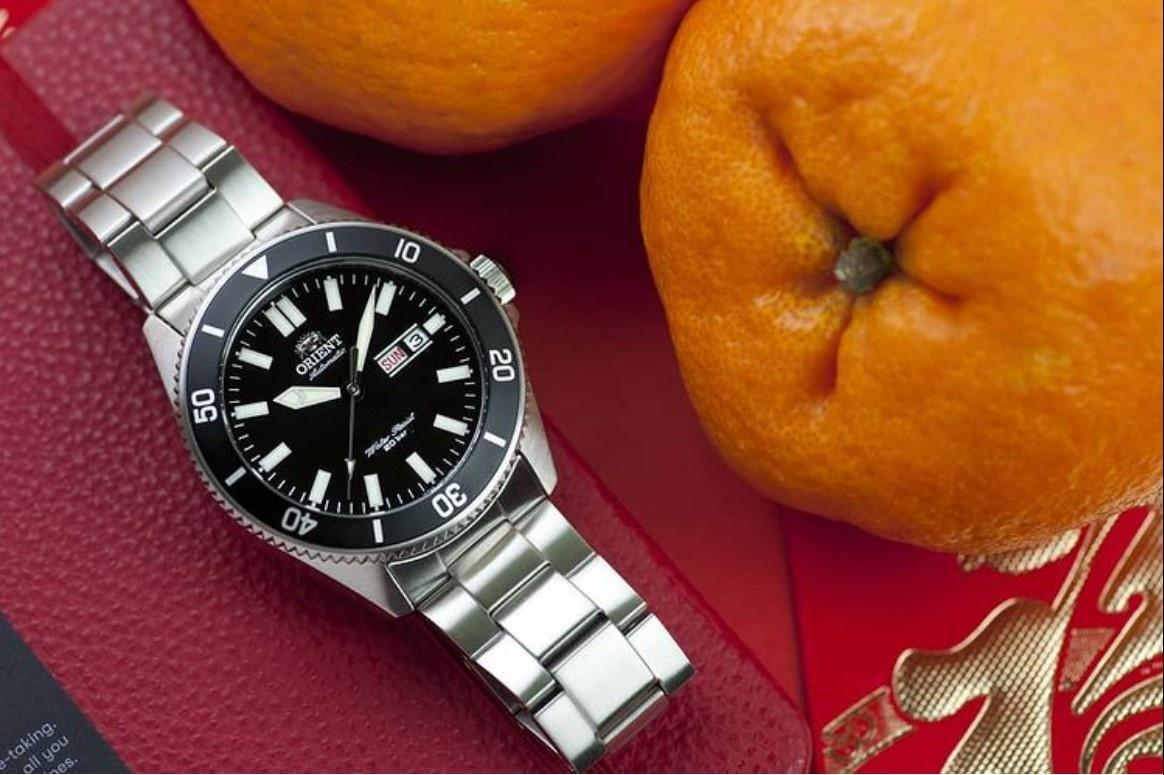 Orient dive watch with orange