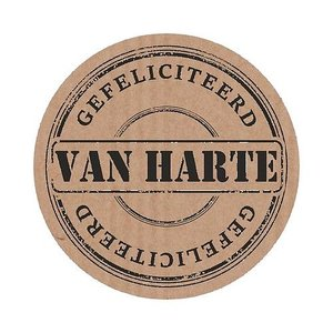 Sticker van harte gefeliciteerd (velletje met 5 stickers) | eenbeetjegeluk.nl