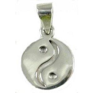 Zilveren hanger yin yang 2 cm