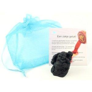Organza zakje met een klein boeddhabeeldje (3cm) | eenbeetjegeluk.nl
