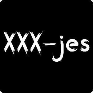Sticker zwart xxx-jess vierkant (5 stickers) | eenbeetjegeluk.nl