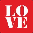 Vierkante rode sticker Love (10 stickers)