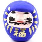 Blauwe daruma - Japanse wenspop 9 cm