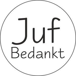 Sticker juf bedankt  (5 stuks) | eenbeetjegeluk.nl