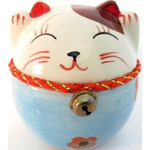 Ronde lucky cat spaarpot met bel