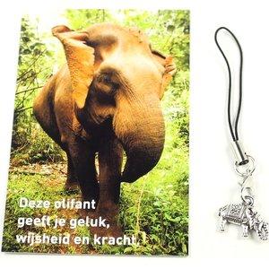 Kaartje olifant voor geluk, wijsheid en kracht