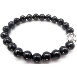 Armband onyx stenen met boeddhahoofdje in kadodoosje | eenbeetjegeluk.nl
