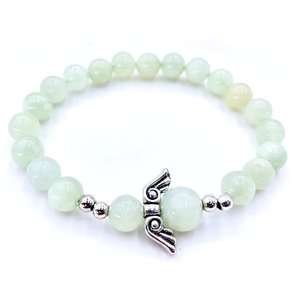 Jade armbandje met engelenbedel