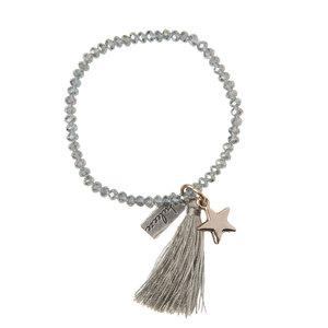 Zilveren armband met kwastje en ster | eenbeetjegeluk.nl