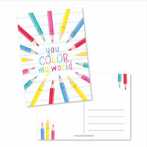 Postkaart You color my world | eenbeetjegeluk.nl
