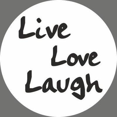 Witte sticker live laugh love