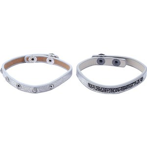 Zilverkleurige set van 2 armbandjes met bling | eenbeetjegeluk.nl