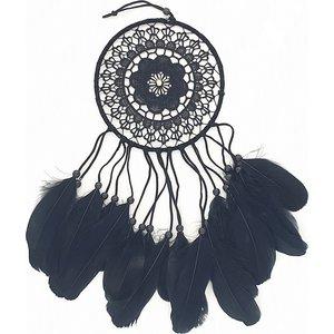 Zwarte dromenvanger met zwarte veren | eenbeetjegeluk.nl