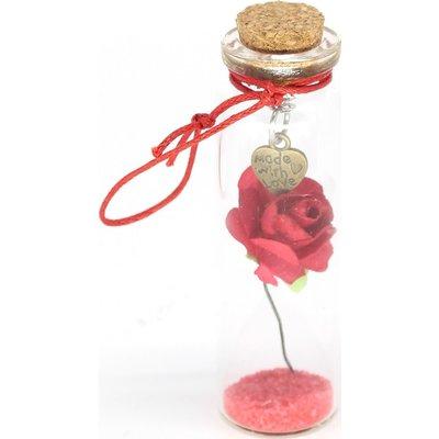 Geluksflesje met roosje en hartje