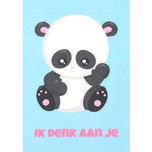 Kaart ik denk aan je met panda | eenbeetjegeluk.nl