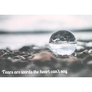 Troostkaart 'Tears are words the heart can't say'   eenbeetjegeluk.nl