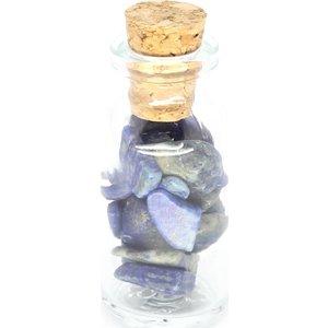 Flesje met lapis lazuli steentjes | eenbeetjegeluk.nl