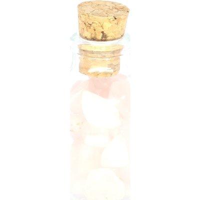 Flesje met rozekwarts steentjes