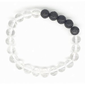 Bergkristal met lava edelsteen armband | eenbeetjegeluk.nl