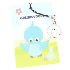 Kaartje geluksvogel met bedeltje vogeltje | eenbeetjegeluk.nl