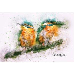 Kaartje 8 x 5 cm Groetjes met ijsvogeltjes | eenbeetjegeluk.nl