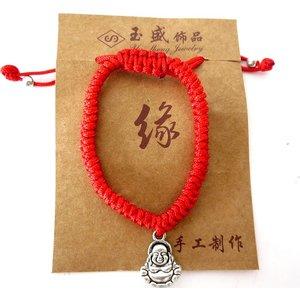 Rood verstelbaar armbandje met boeddhabedeltje | eenbeetjegeluk.nl