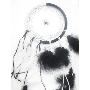 Zwart witte dromenvanger 25 cm doorsnee | eenbeetjegeluk.nl