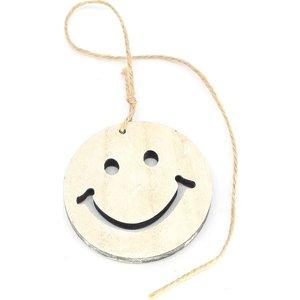 Houten label smiley aan koordje | eenbeetjegeluk.nl