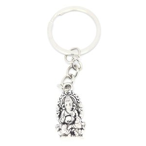 Sleutelhanger zilverkleurige Ganesha 2,5 cm | eenbeetjgeluk.nl