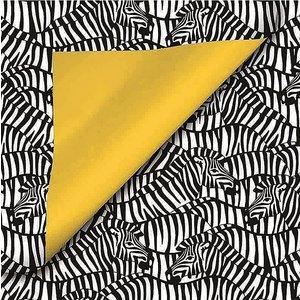 Zebra zakje 12 x 19 cm met gele flap   eenbeetjegeluk.nl