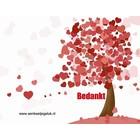 Dubbel kaartje ' bedankt'  met hartjesboom