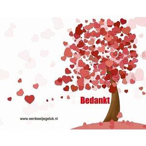Dubbel kaartje ' bedankt '  met hartjesboom