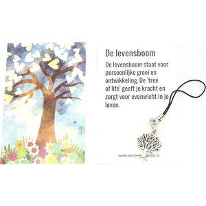 Kaartje levensboom met uitlegje en een hangertje levensboom | eenbeetjegeluk.nl