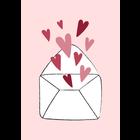 Kaartje met een envelopje met hartjes