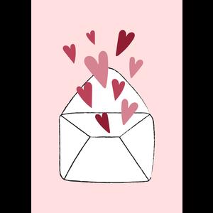 Kaartje met een envelopje met hartjes | eenbeetjegeluk.nl
