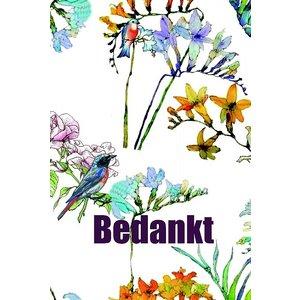 Kaartje bedankt met vogeltjes en bloemen | eenbeetjegeluk.nl
